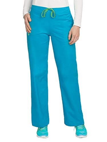 (Med Couture Signature Drawstring Scrub Pants for Women, Bali Blue/Shamrock, Small Tall)