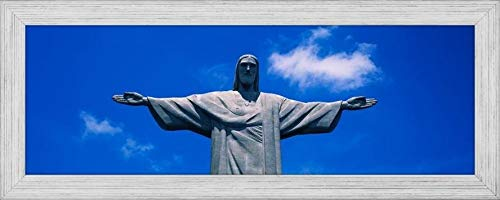 Easy Art Prints Panoramic Images's 'Low Angle View of The Christ The Redeemer Statue, Corcovado, Rio de Janeiro, Brazil' Premium Framed Canvas Art - 24