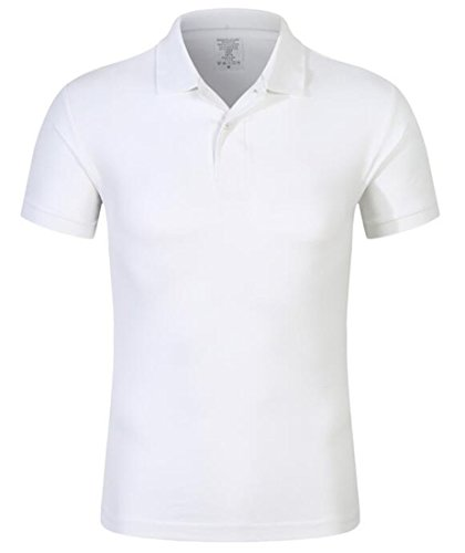 Ultimate Pique Shirt - KLJR Men Short Sleeve Pure Color Slim Casual Ultimate Pique Polo Shirt White US M