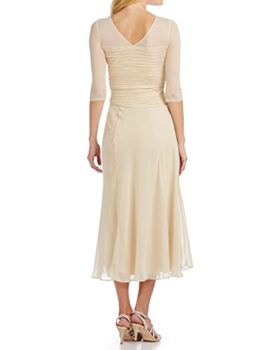 Ribbon Dress Long Gown Champagne Mother Bride The Ruched Women Bridal Chiffon of Amore Sleeveless x7qYg0Ow