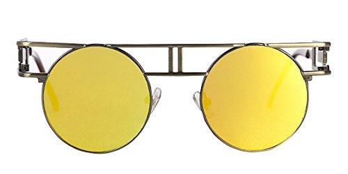 Gafas Flash oro Gafas Espejo Lente Steampunk Marrón gótico BOZEVON sol de Reflejo de Vintage ZHwXOxd