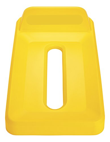 Recycling Paper Untouchable Lid (Rubbermaid Commercial Untouchable Recycling Lid, Mixed Recycling, Yellow, 2018274)