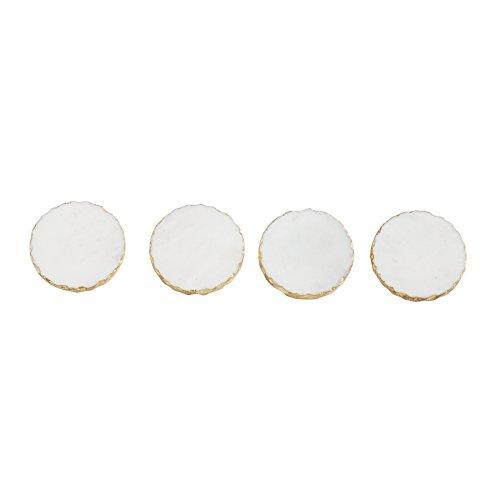 Mud Pie 4256001G Gold Foiled Coaster Set White
