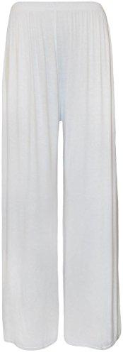 """Chocolate Pickle ® para Mujer de talla 40-58 Pantalón ancho al estilo """"pallazzo"""" blanco"""