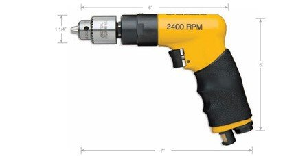 - Nova Pneumatic 2400 RPM .5 HP Pistol Grip Drill with 1/4in Chuck and Key