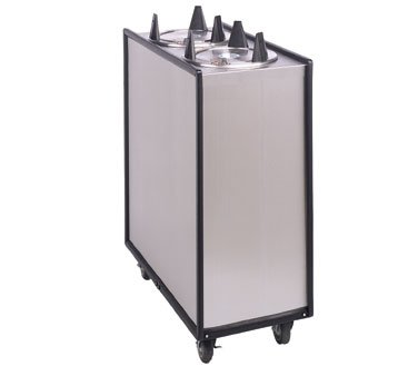 APW Wyott Lowerator Enclosed Mobile Adjustube Three Tubes Unheated Plate Dispenser, 5 7/8 to 6 1/2 inch China Size -- 1 each.
