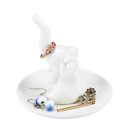 HOME SMILE Elephant Ring Dish Holder for Jewelry,Engagement Wedding Trinket Trays Ring Display Holder Stand White