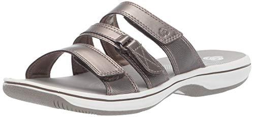 CLARKS Women's Brinkley Coast Slide Sandal Pewter Synthetic 120 M US (Clarks Women Shoes Size 12 Wide)