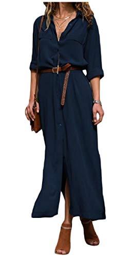 Sleeve Lapel Collar Dresses Women Blue Breasted Howme Long Single Shirts OL Casual qFUwzR