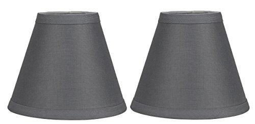 Urbanest Set of 2 Gray Linen Chandelier Lamp Shade, 3-inch b