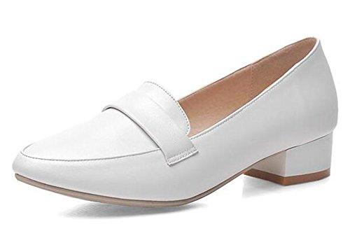Easemax Womens Confortables A Souligné Toe Bas Coupe De Travail Chaussures Bas Bloc Talons Glisser Sur La Pompe Blanc
