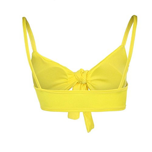 Swimsuit Backless Ladies Beachwear Swimwear Bikini Set Women Solid Sling High M Waist Dragon868 Yellow Eqt1Z