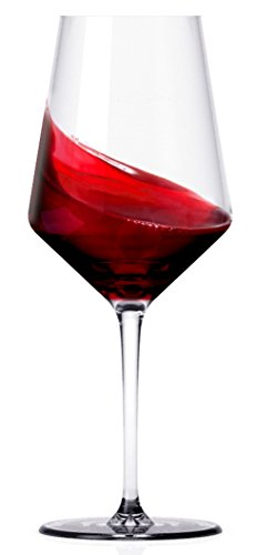 Miko Wine Glasses, Pure Lead Free Crystal, Wine Glass Set Of 6 (Cabernet) by Miko