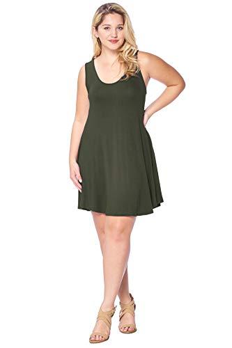 (Modern Kiwi Solid Basic Asymmetric Plus Size Tank Tunic Dress Olive)