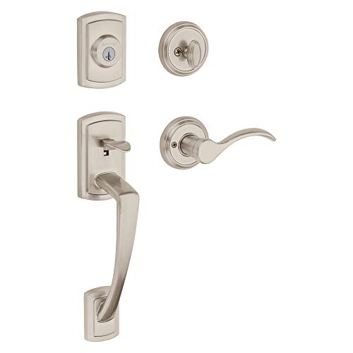 Baldwin Nautica Single Cylinder Front Door Handleset Featuring SmartKey Security in Satin Nickel, Prestige Series with Traditional Door Hardware and Tobin Lever ()