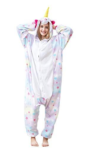 Xiqupjs Unisex Adult Star Unicorn Pajamas Cosplay Costume Onesie Halloween and Christmas Animal Jumpsuit Medium