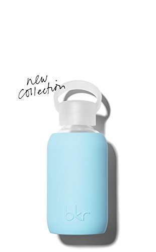 bkr - BEST Original Glass Water Bottle - Premium Quality - Soft Silicone Protective Sleeve - BPA Free - Dishwasher Safe (8oz/ 250ml)-Birdie - Robin's Egg Blue