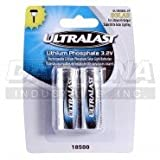 Ultralast 2 Pack Lithium Phosphate 18500 cells for super bright outdoor solar lighting 800mAh