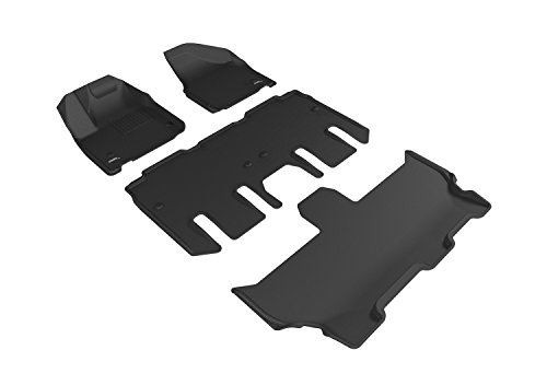 3D MAXpider Complete Set Custom Fit All-Weather Floor Mat for Select Chrysler Pacifica Models - Kagu Rubber (Black)