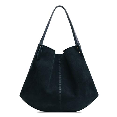Women Real Split Suede Leather Hobos Bag Leisure Large Shoulder Bags,Navy Blue ()