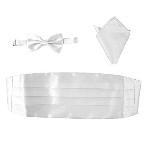 OULII Men Satin Bow Tie Cummerbund Handkerchief Set 3pcs (White)