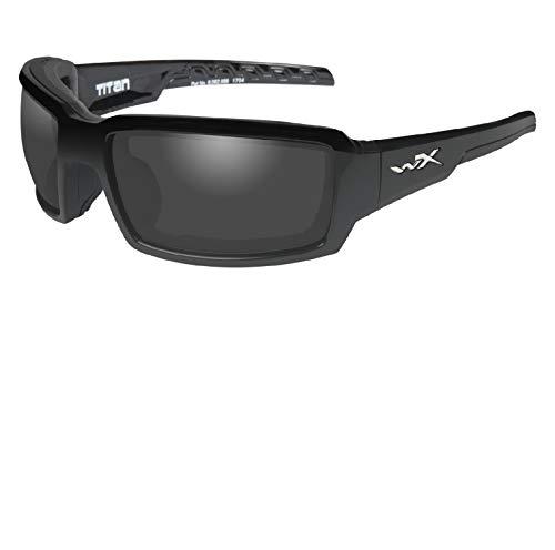 Wiley X CCTTN08 Titan Sunglasses Polarized Grey Lens Gloss, Black