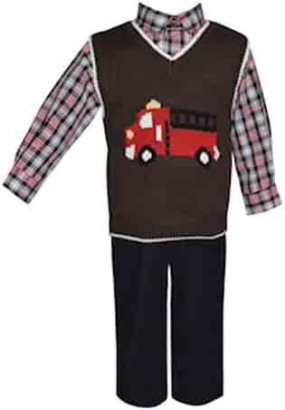 8379469b05e9 Blueberi Boulevard Baby Boy Sweater Vest, Long Sleeve Plaid Shirt, Corduroy  Pants Set