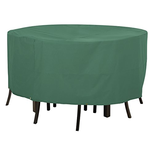 Classic Accessories Atrium Round Patio Table and Chair Cover – Weather Water Resistant Patio Set Cover with UV Protection, Large, Green 55-433-041101-11