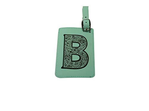 Luggage Tag Initial-Engineered Leather,Individual Letters-Personalized Luggage Tags (B)