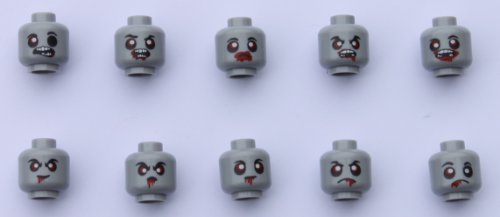 Lego Zombie Heads Version Ii, One Set of 10 Different