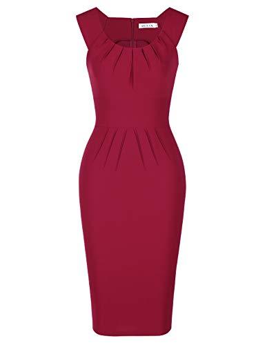 MUXXN Lady 1950s Fashion Cap Shoulder High Low Vintage Bridesmaid Red Split Dress (Burgundy XXL)