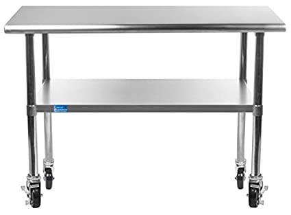 Merveilleux Work Table With 4 Casters Wheels Stainless Steel Food Prep Worktable  18u0026quot ...