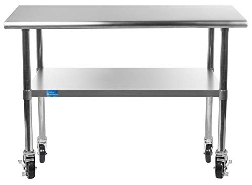 AmGood Stainless Steel Work Table - with Undershelf & Casters (Wheels) | Food Prep | Utility Work Station | NSF Certified | All Sizes (36'' Length X 18'' Width) by AmGood (Image #6)