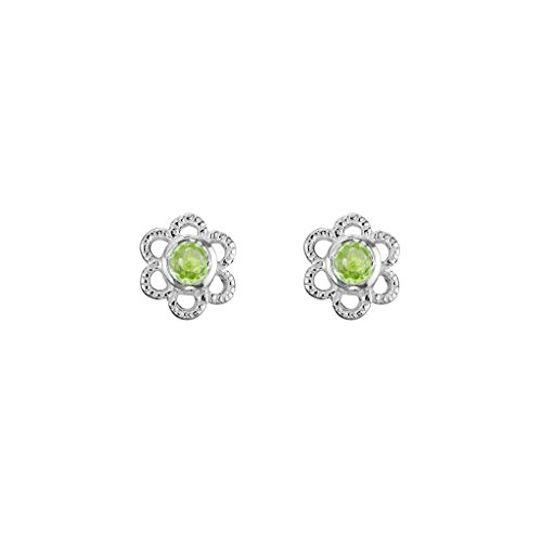 - Sterling Silver Children's Flower Stud Earrings with 2.5mm Peridot August Birthstone