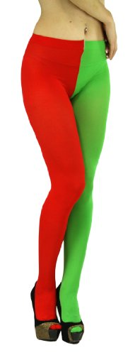 ToBeInStyle Women's Two Toned Jester Tights W/ Reinforced Toe - One Size: Plus/Queen - Red/Kelly Green ()