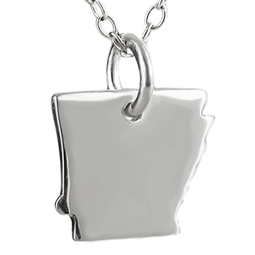 (Sterling Silver US Arkansas State Charm Necklace, 18 Inch)