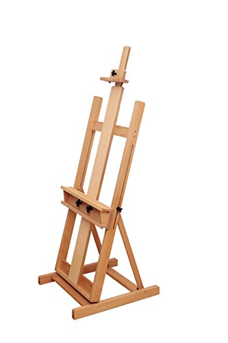 Selection Extra Large H-Frame Beech Wood Sturdy Artist Studio Display Easel, Supports Canvas Art up to 84 inch High