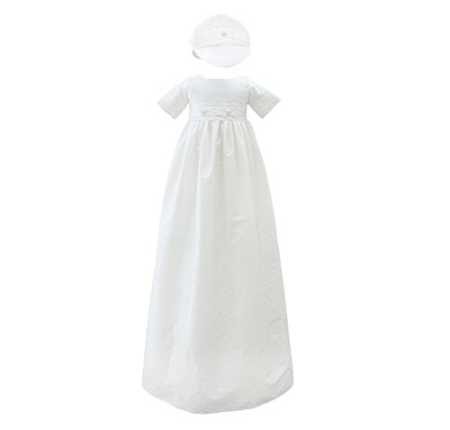 Glamulice Baby Boy Baptism Christening Gown Clothes Long Christening Baptism Dress for Boys 2pcs White