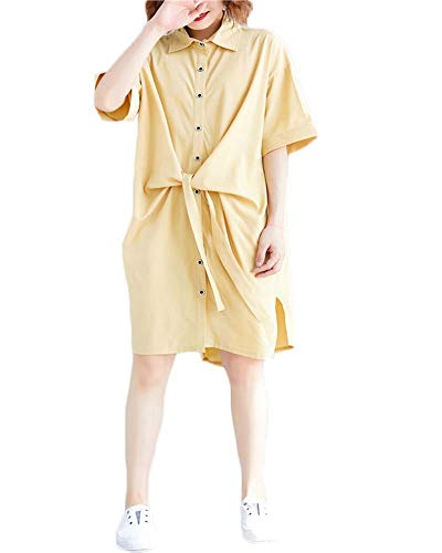 Ninmon Shares Women O-Neck Long Sleeve Button Down Hem Cut Out T-Shirts Dresses Plus Size (Model 4 Yellow)