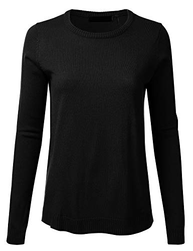Women's Crewneck Long Sleeve Soft Pullover Knit Sweater Top with Ribbed Trim Black S