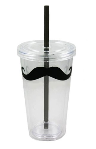 16.3 oz Mustache Double Walled Reusable Cup with