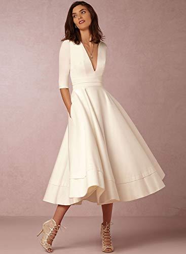 Delle Donne Achicgirl V Collo Solida Una Linea Vestito Da Partito Elegante Mezza Manica Bianca