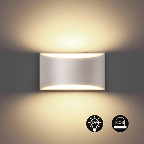 Bjour Modern LED Wall Sconce 12W White Up Down Wall Lamps Indor Cordless Hallway Wall Mounted Light Fixtures for Bedroom Living Room, Warm White
