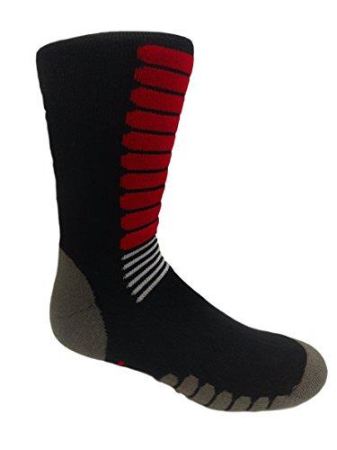- Eurosocks Ski Zone OTC Socks, Padded Protection, Absorbs Shock, Ventilation Channels, MicroSupreme Warmth-1112 (X-Large, Black/Red)