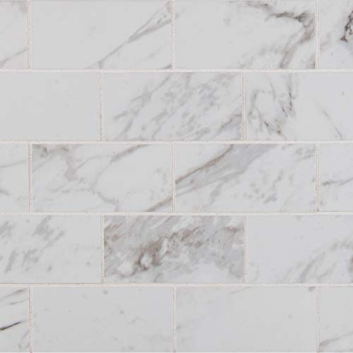 - MS International AMZ-M-00243 Pietra Carrara 2X4 Mosaic Polished Tile 12in x 12in White