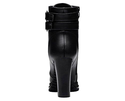 Femmes Centenaires Mode Botte Courte Coton Doublé Talon Haut Botte Décontractée (gris / Noir) Noir