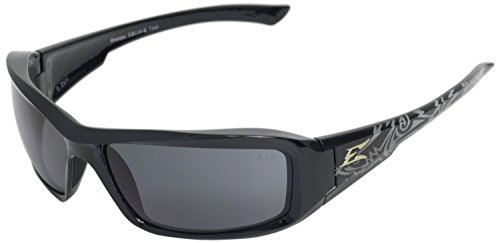 (Edge Eyewear XB116-K Brazeau Safety Glasses, Black Shark Series with Smoke Lens)
