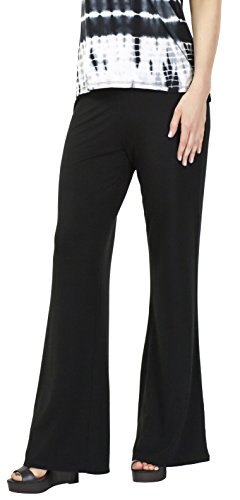 Sassimi Women's Ultra Soft Bamboo Rayon Pants (Medium), Black