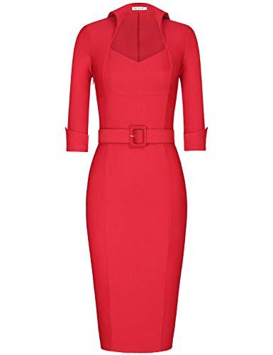 MUXXN Women's 1950s 3/4 Sleeve Elegant Bodycon Lapel Cocktail Pencil Dress (L, Red)