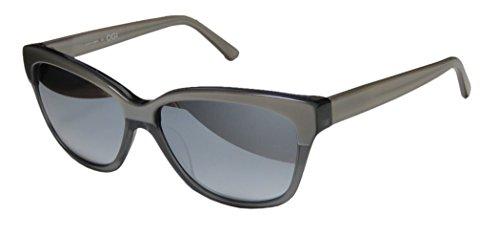 Ogi 8064 Womens/Ladies Cat Eye Full-rim Mirrored Lenses Sunglasses/Sun Glasses (57-14-140, Pearl Gray / Transparent - Ogi Sunglasses